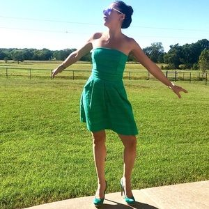 Emerald Green Tweed Strapless Dress